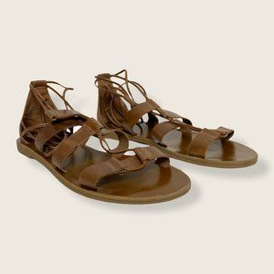 Aldo Brown Leather Lace Up Sandals